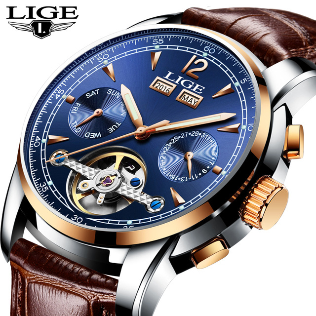 Mens Fashion Accessories LIGE Watches Automatic Mechanical Waterproof Leather Wristwatch Luminous Date Clock<br>