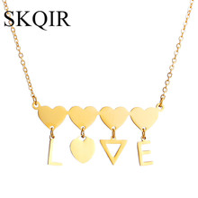 SKQIR News Necklaces & Pendants Heart Pendant For Lovers Gold Stainless Steel Chain Letter Love Necklace Jewelry For Women Girls(China)