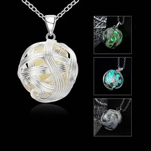 Punk Pretty Magic Round Fairy Locket Glow In The Dark Pendant Necklace Gift Glowing Luminous Necklaces CX17(China)