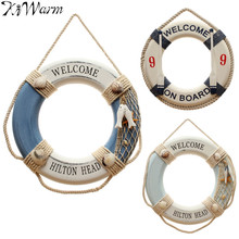 KiWarm 1PC Fashion Mediterranean Style Life Buoy Crafts Adorment Living Room Decoration Nautical Home Wedding Decor Ornaments