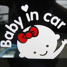 "Car-Styling Cartoon Car Stickers Vinyl Decal Baby on Board ""Baby in car"" Window Rear Windshield Cute Car Sticker Free Shipping"