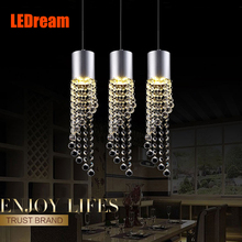 Led three restaurants light bar crystal droplight creative   contracted table dining room single head meals chandeliers