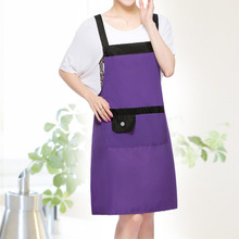 [WIT]Purple Pvc Waterproof Adjustable Apron Uniform With 2 Pockets Hairdresser Kit Salon Hair Tool Chef Waiter Kitchen Cook Tool(China)