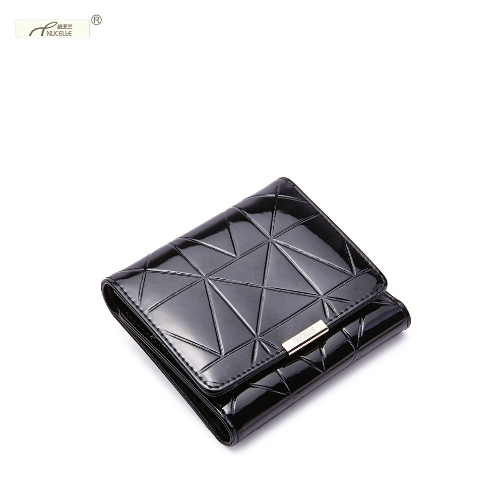 NUCELLE Brand New Design Fashion Cow Patent leather Quilting Embossed Fold Short Women Wallets Mini Cards Holder Coin Purses<br><br>Aliexpress