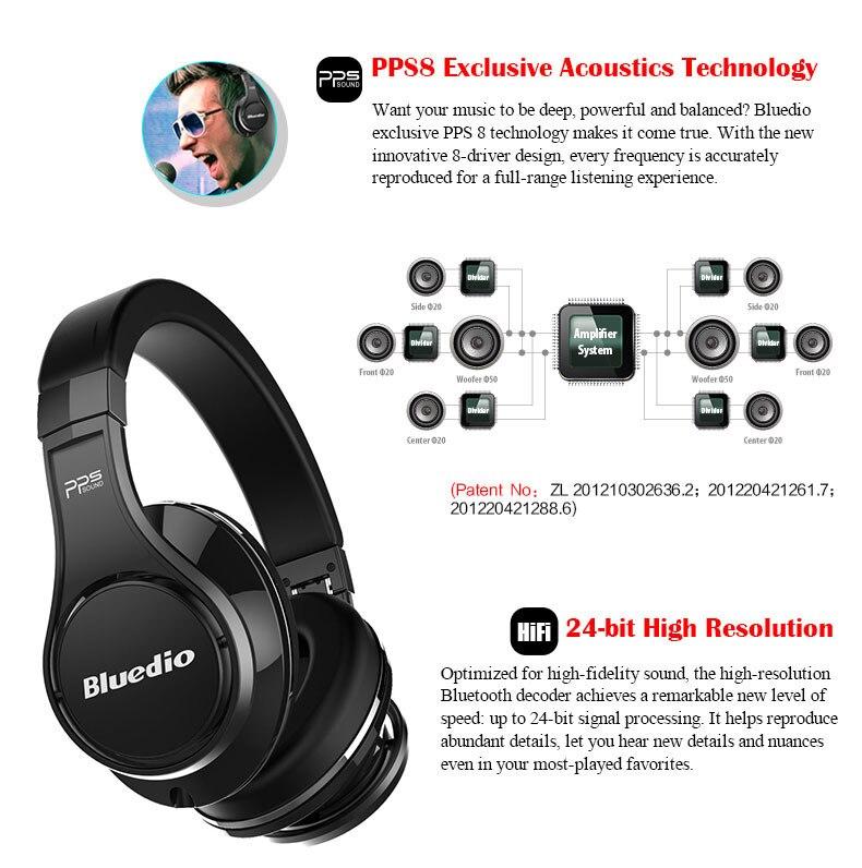 Bluedio U(UFO)High-End Bluetooth headphone Patented 8 Drivers/3D Sound/Aluminum alloy/HiFi wireless Over-Ear headphone