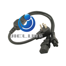 High quality 2 in 1 Multi function Power Cord USA US flat plug to IEC 320 C5 C13 Power cord 0.6m,1 pcs