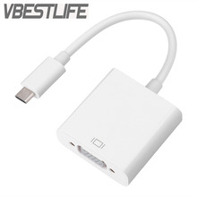 VBESTLIFE USB 3.1 Type C to Female VGA Adapter Audio Cable Converter 10Gbps for New Macbook 12 inch White Cable Free Shipping