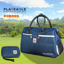 PLAYEAGLE  New Waterproof Blue Nylon Golf Clothing Bag with Shoes Package Large Capacity Golf Boston Bag Free Golf Pouch