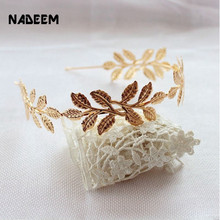 Newest Fashion Tiara Gold Leaves Hairbands Summer Style Wedding Leaf Hair Accessories Bridal Alloy Crown Jewelry For Women