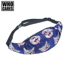 2017 Summer style fashion adjustable length cute cat 3D Printed casual Fanny packs Money Waist Bag Belt leg bag men