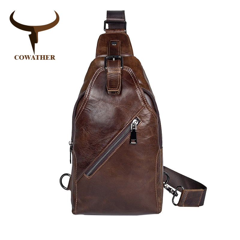 COWATHER Top Cow Genuine Leather bag For Mens Laptop Messenger Bags Travel Male Handbag Cow Leather Business Crossbody Bag <br>