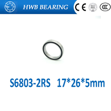 2pcs rubber sealed 440 stainless steel hybrid ceramic ball bearings S6803 6803 2RS 17*26*5mm Si3N4 bike part(China)