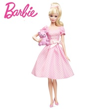 Originais Barbie Pink Blessing Collection Doll Dot Dress Cute Bear Princess Toys Girls Gift X8428 Free Shipping