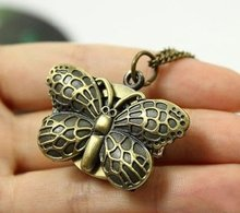 12 pcs/lot Vintage antique butterfly pocket watch pendant necklaces, Wholesell