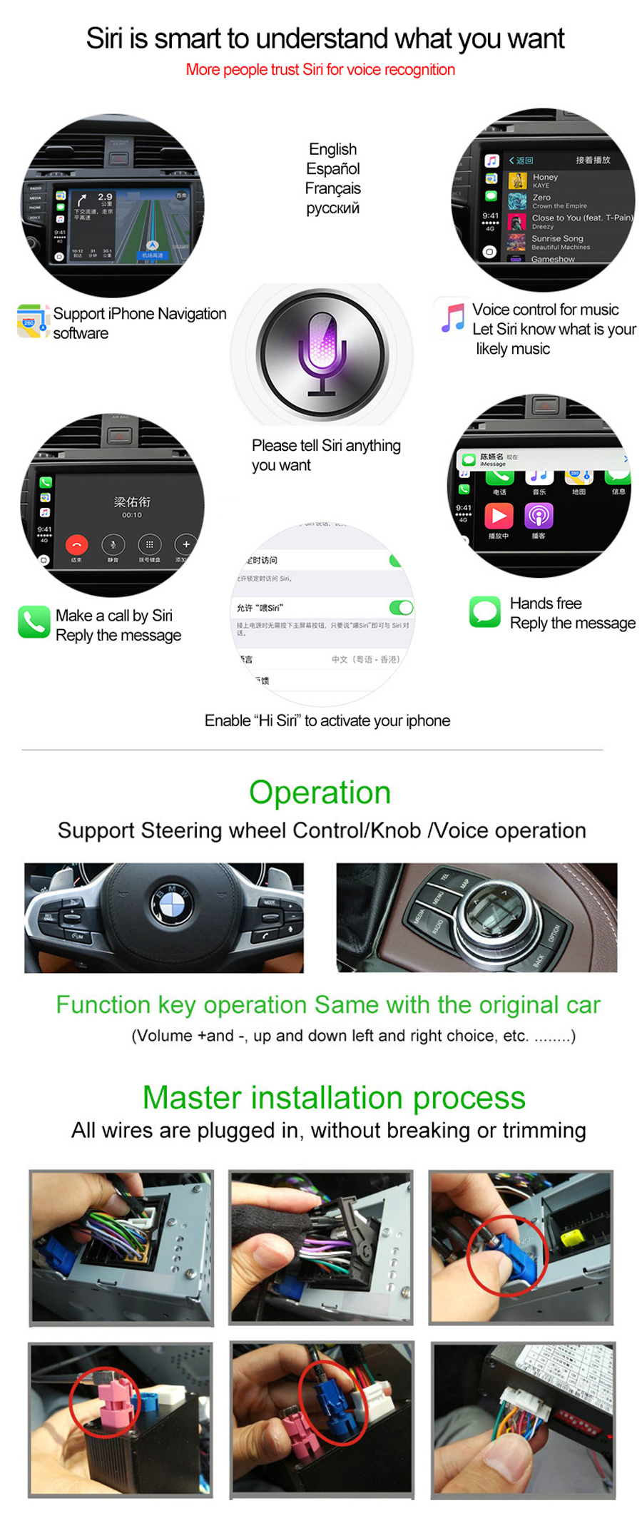 CarPlay Interface Aftermarket OEM Apple Carplay Android Auto Solution  Upgrade X1 F48 IOS Airplay Retrofit Box for BMW