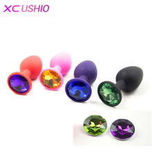 Buy Silicone Anal Sex Toys Women Men Erotic Butt Plugs Colorful Crystal Jewelry Adult Beads Anus Product Anal Plug