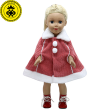 American Girl Doll Clothes Red Winter Cloak Coat fit 18 inch American Girl Doll Accessories Girl's Christmas Gift 365(China)