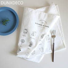 DUNXDECO 50x68CM Modern Noric Simple White Black Hand Panting Kitchen Tool Cotton Table Placemat Napkin Kitchen Towel Photo Prop