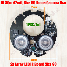 DIY 2pcs LED Array 42mil IR 20-50M Round PCB Board Size 90 Infrared Night Vision 850nm for CCTV Security Dome Camera Case Casing