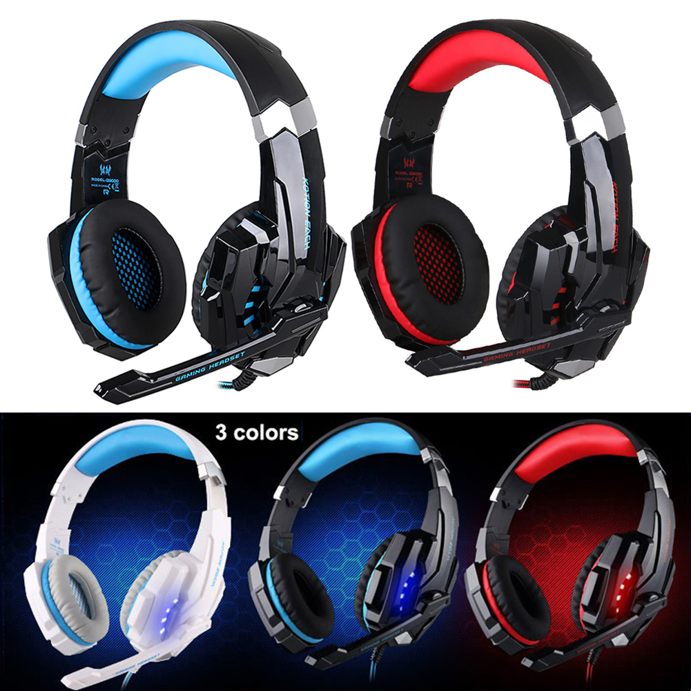 KOTION EACH G9000 Game Headset Noise Cancellation 3.5mm Gaming Headphone Earphone with Mic LED Light Black-red for PS4 Laptop<br><br>Aliexpress