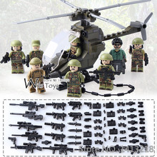 8pcs Special Forces MILITARY Soldier Army WW2 Helicopter SWAT Team Building Blocks Bricks Figures Educational Toys Boys children(China)