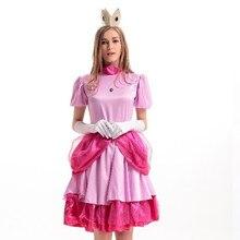df098d12077 Super Mario Princess Peach Costume Halloween Book Week Sweet Princess Peach  Cosplay Fantasia Outfit