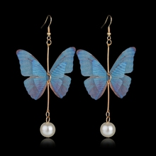 MissCyCy Vintage Simulated Pearl Drop Earrings for Women Long Butterfly Earrings Fashion Jewelry Bomemian Style