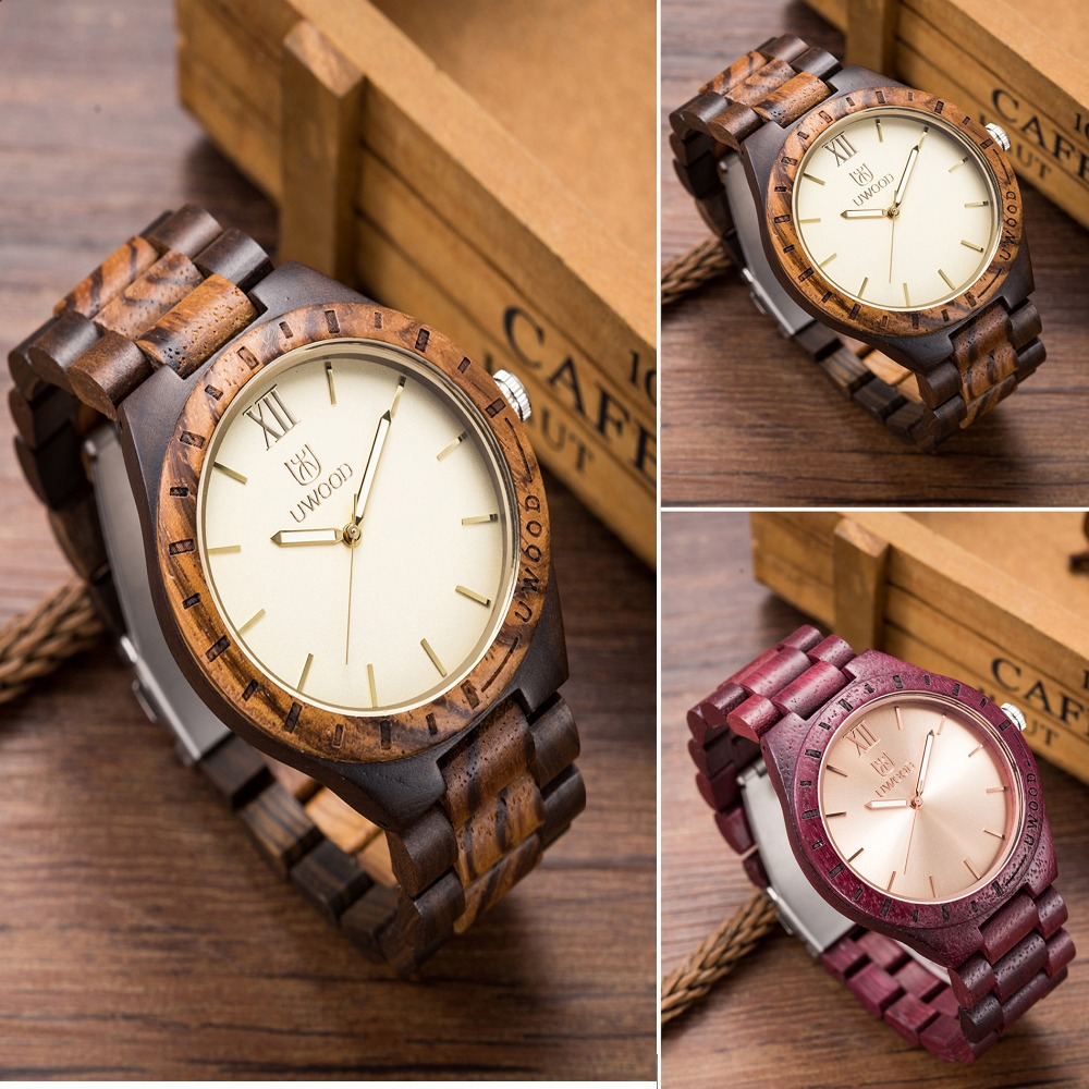 Luxury Brand UWood Men Casual Wood Watches Men and Women Quartz Analog Purple Wood Clock Fashion Wooden WristWatch Male Relogio<br>