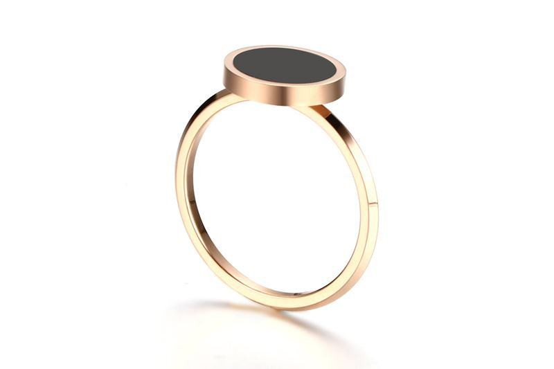 Meaeguet Rose Gold Color Women's Simple Rings Stainless Steel Black Stone Finger Ring Fashion Cocktail Jewelry (14)
