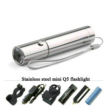 MINI LED rechargeable Flashlight Stainless steel Torch 3 Mode linterna Cree Q5 waterproof led lamp flash light