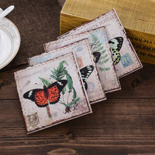 LINKWELL Set of 4 10x10cm Vintage Butterfly French Country Herb Green PU Leather Bar Coaster Table Cup Holder Drink Placemat Mat