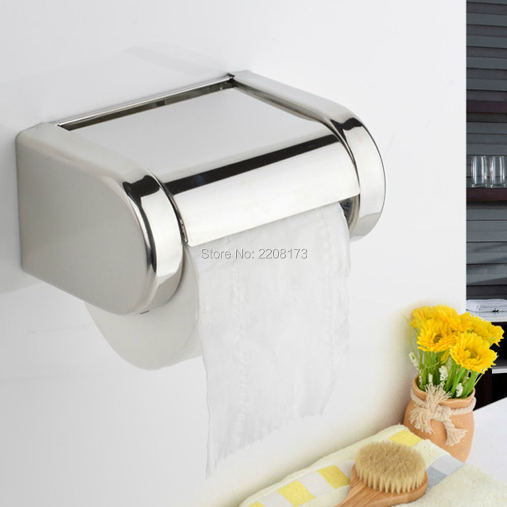 Modern High Quality SUS304 Stainless Steel Chorme Bathroom Toilet Paper Holder Tissue Bar Box Wall Mounted Bathroom Accessories<br>