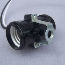 E27 screw bakelite lamp base High quality black 2e27 lamp holder Lighting Accessories lampholder with the wire 10pcs