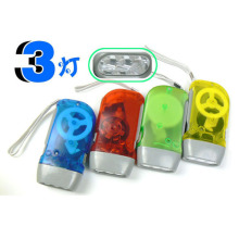 New Arrival 3 LED Dynamo Wind Up Flashlight Hand-pressing Crank NR No Battery Torch HR(China)