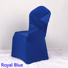 Royal blue colour universal lycra chair covers two cross spandex swag back cover chair luxury wedding party decoration on sale(China)