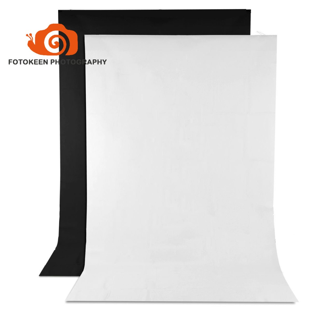 100% Non-woven Fabric Photo Backdrop 5x10FT Background Screen for Photography Video Studio Television,2 Pack(Black&amp;White)<br>
