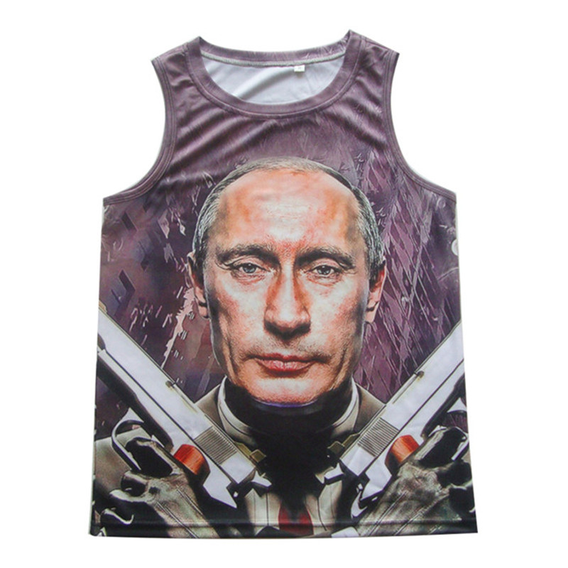 1217fd95f6ede Fashion 2018 Summer Men s Tank Top Cool Gym Bodybuilding Vest 3D Design  Putin Gun Print Tee
