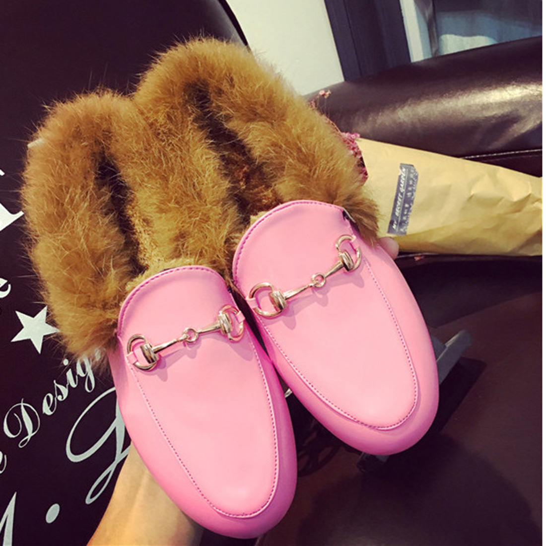 2017 Autumn\Winter Slip On Furry Slippers Horsebit Casual Flat Fur Mules Winter Shoes Natural Rabbit Hair Shearling Loafers<br><br>Aliexpress