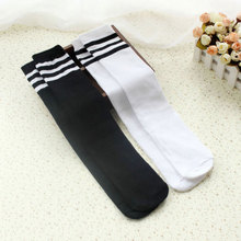 Kids Knee High Socks For Girls Boys Football Stripes Cotton Sports School Style White Socks Skate Children Long Tube Leg Warm(China)