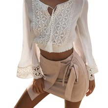 Lace Chiffon Blouse Shirt Women Crop Tops Long Sleeve White Crochet Floral Blouses Hollow Out Blusas Summer 2017 chemise femme(China)
