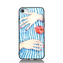 Blue Cloth and Red Pomegranate Fun Art For iPhone 6 6s 7 Plus Case TPU Phone Cases Cover Mobile Protection Decor Gift(China)