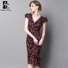 Buy spring summer runway designer womans dress black white calf length dress red cherry print ruffle shoulder chest slim sexy dress for $55.19 in AliExpress store