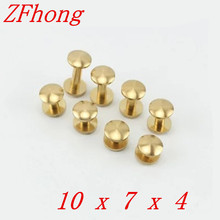 `20 Pieces 10*7mm Leather Craft Belt Wallet Solid Brass Nail Rivet Chicago Screw Cambered Head(China)