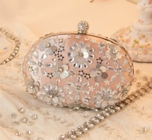 Forever new Pink petal package Rhinestone day Clutch Married bridal Bag diamond Pearl Bag Wedding/prom/evening Bag Free Shipping
