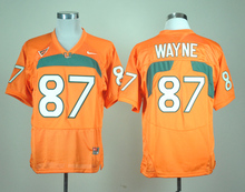 Nike Miami Hurricanes Reggie Wayne 87 Orange College Jersey Ice Hockey Jerseys M,L,XL,XXL,3XL(China)