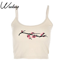 Weekeep Sexy Cropped Flare Printed Chinese Style Camis Knitted Bralette Crop Top Sleeveless Camisole Tank Top Slim Vest(China)