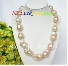 Jewelry 001144 HUGE pink Reborn keshi pearls necklace