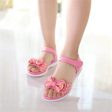 Girl rubber sole casual sandals 2017 hot new Dot Bow Shoes For Girls Fashion Princess Fish Head Kids Shoes Children sandals girl