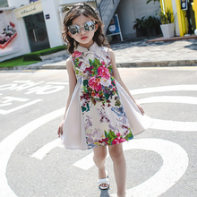 2017 autumn cheongsams for little girls chinese dress for children tang suit baby girl princess dresses clothe(China)