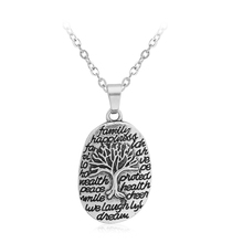 Tree Of Life Pendant Family Happiness Love Hope wealth Peace Health Laugh Dream Letter Round Charm Necklace Jewelry